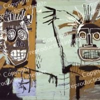Jm Basquiat Two Heads On Gold - 1982
