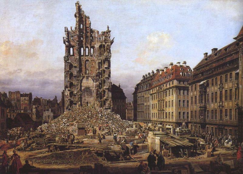 Tableaux sur toile, reproduction de Bellotto, The Ruins Of The Old Kreuzkirche In Dresden