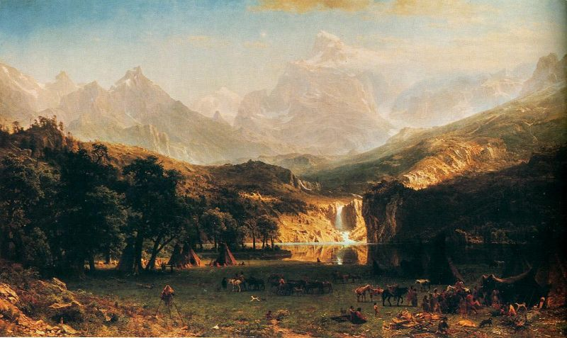 Tableaux sur toile, reproduction de Bierstadt, The Rocky Mountains, 180x306cm
