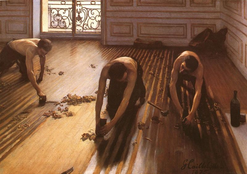 Tableaux sur toile, reproduction de Caillebotte, The Floor Strippers, 102x146cm