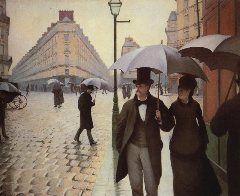 Tableaux sur toile, reproduction de Caillebotte, The Place De l'Europe On A Rainy Day, 212x276cm