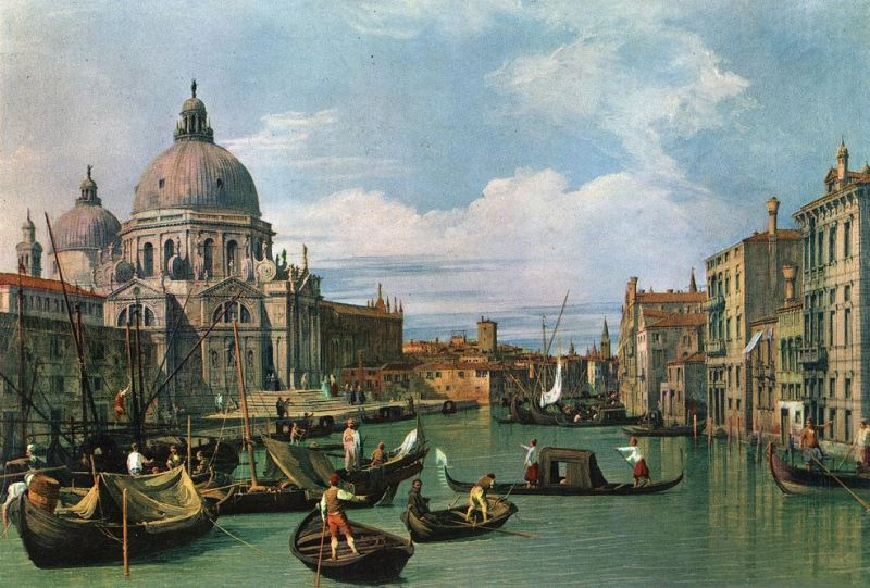 Tableaux sur toile, reproduction de Canaletto, The Grand Canal And The Church Of The Salute, 49x72cm