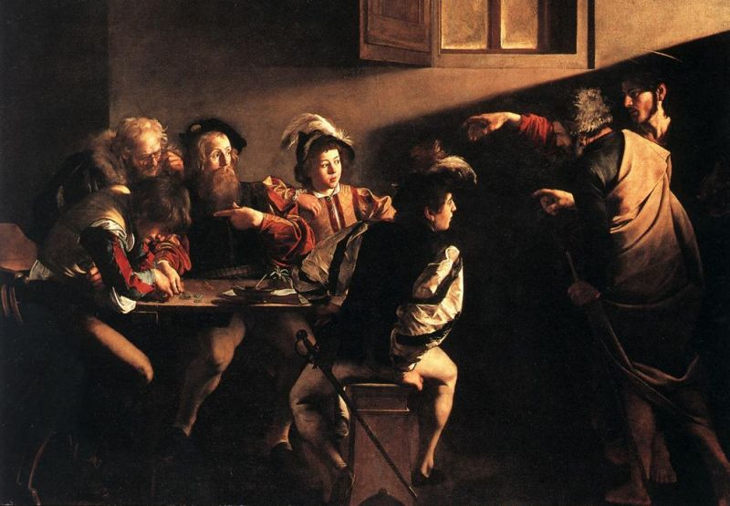 Tableaux sur toile, reproduction de Caravaggio, The Calling Of Saint Matthew, 322x340cm