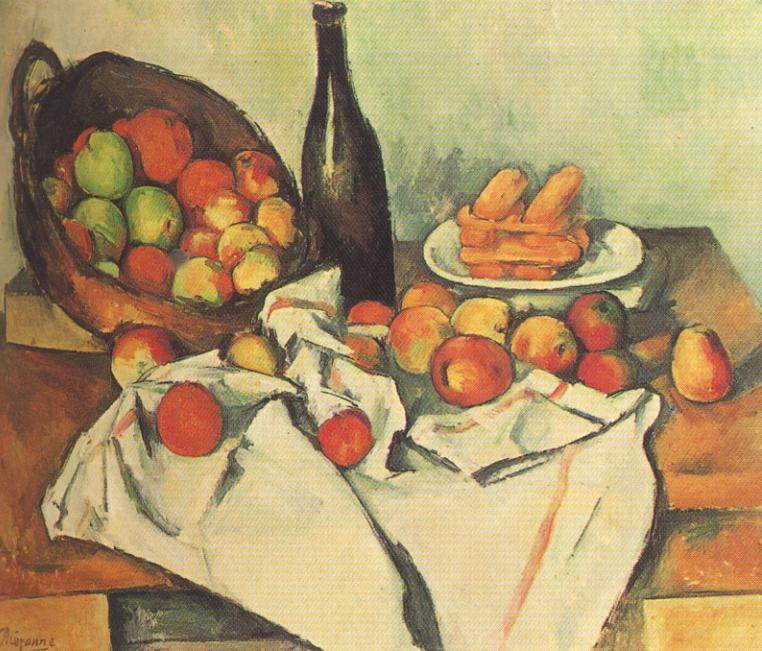 Tableaux sur toile, reproduction de Cezanne, Still Life With Basket Of Apples, 61x78cm