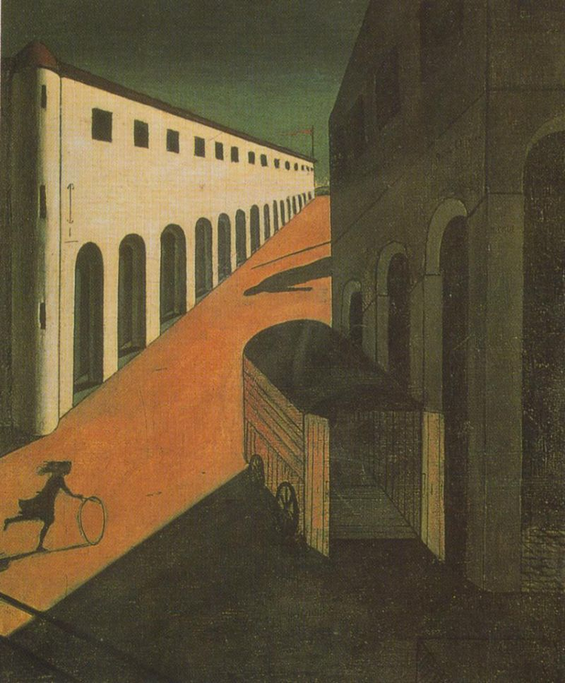 Tableaux sur toile, reproduction de Chirico, The Melancholy And Mystery Of A Street, 87x71cm
