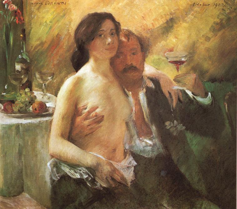 Tableaux sur toile, reproduction de Corinth, Self Portrait With His Wife And A Glass Of Champagn
