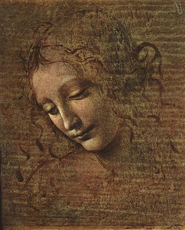 Tableaux sur toile, reproduction de Da Vinci, Head Of A Tousled Young Woman, 27x21cm