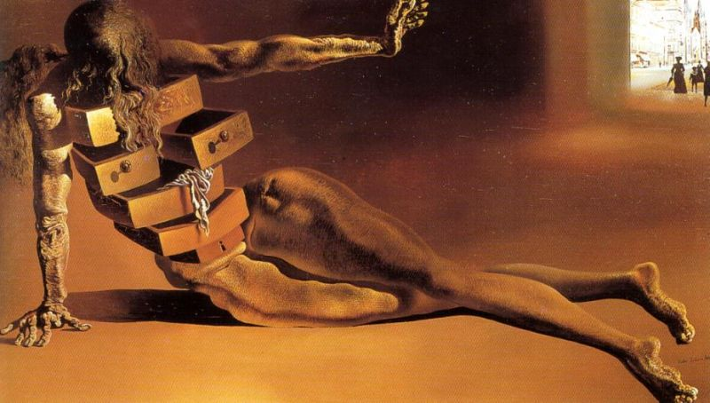 Tableaux sur toile, reproduction de Dali, Anthropomorphic Cupboard With Drawers, 25x44cm