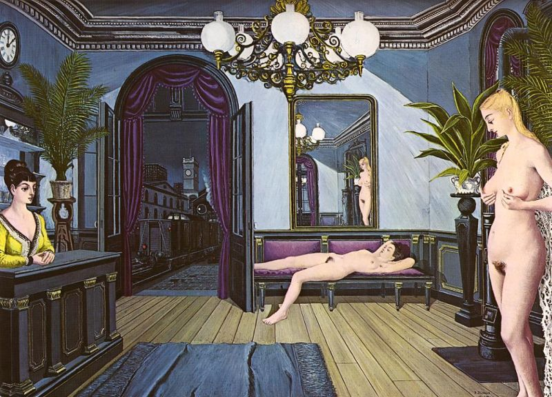 Tableaux sur toile, reproduction de Delvaux, The Night Train, 153x210cm