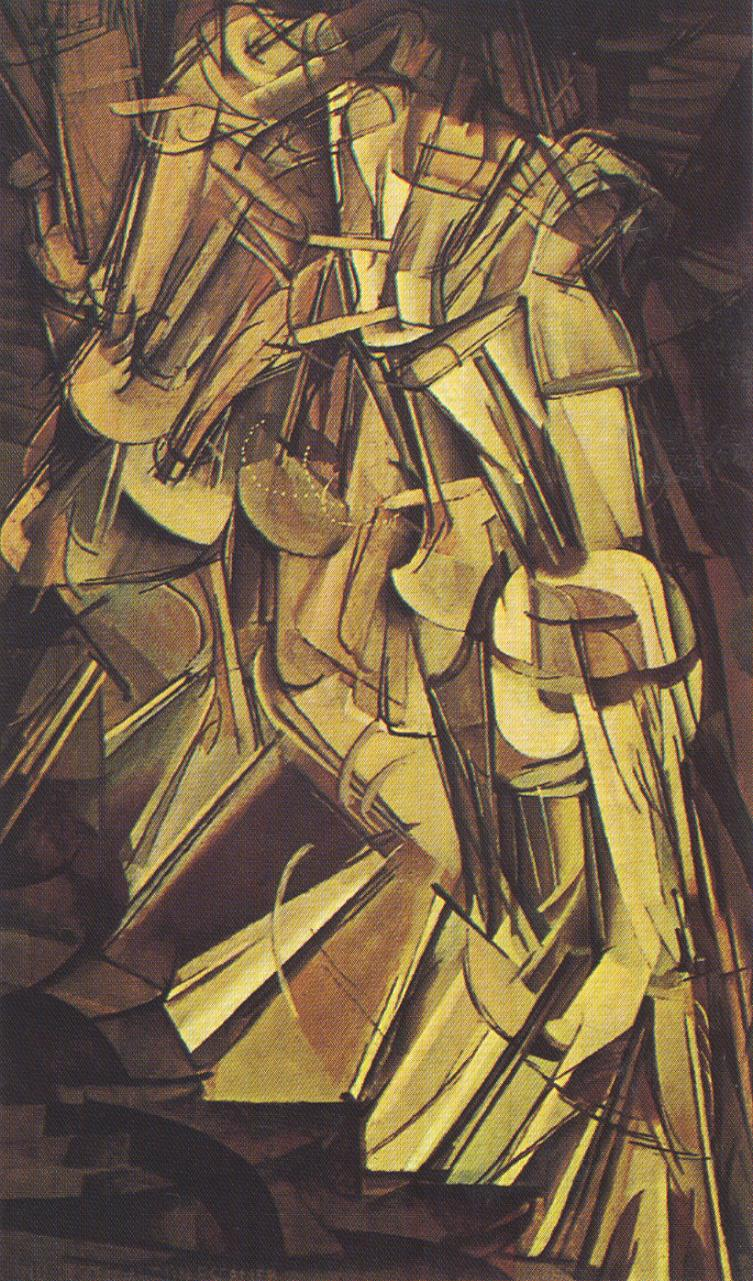 Tableaux sur toile, reproduction de Duchamp, Nude Descending A Staircase N2, 147x88cm
