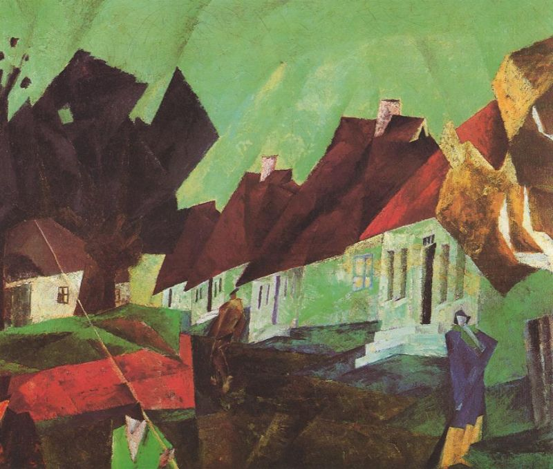 Tableaux sur toile, reproduction de Feininger, The Village Of Alt-sallenthin, 80x100cm