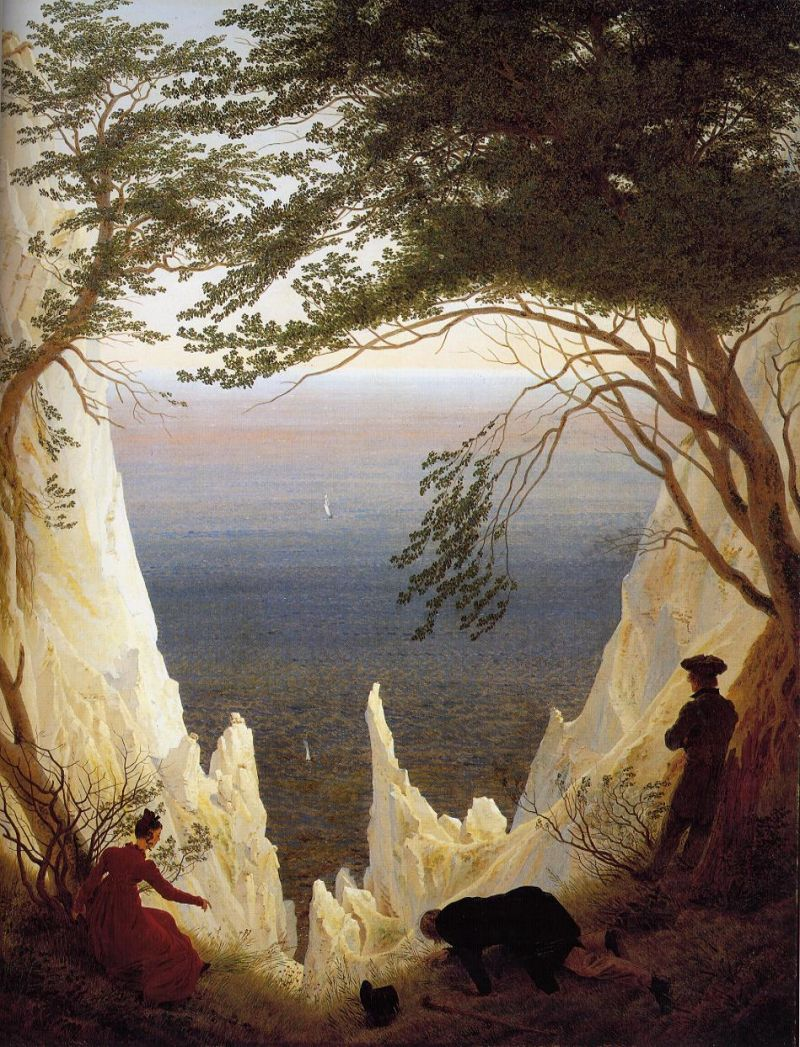 Tableaux sur toile, reproduction de Friedrich, The Chalk Cliffs On Rugen, 90x71cm