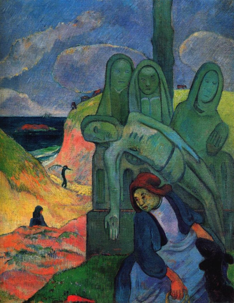 Tableaux sur toile, reproduction de Gauguin, The Green Christ, 92x73cm