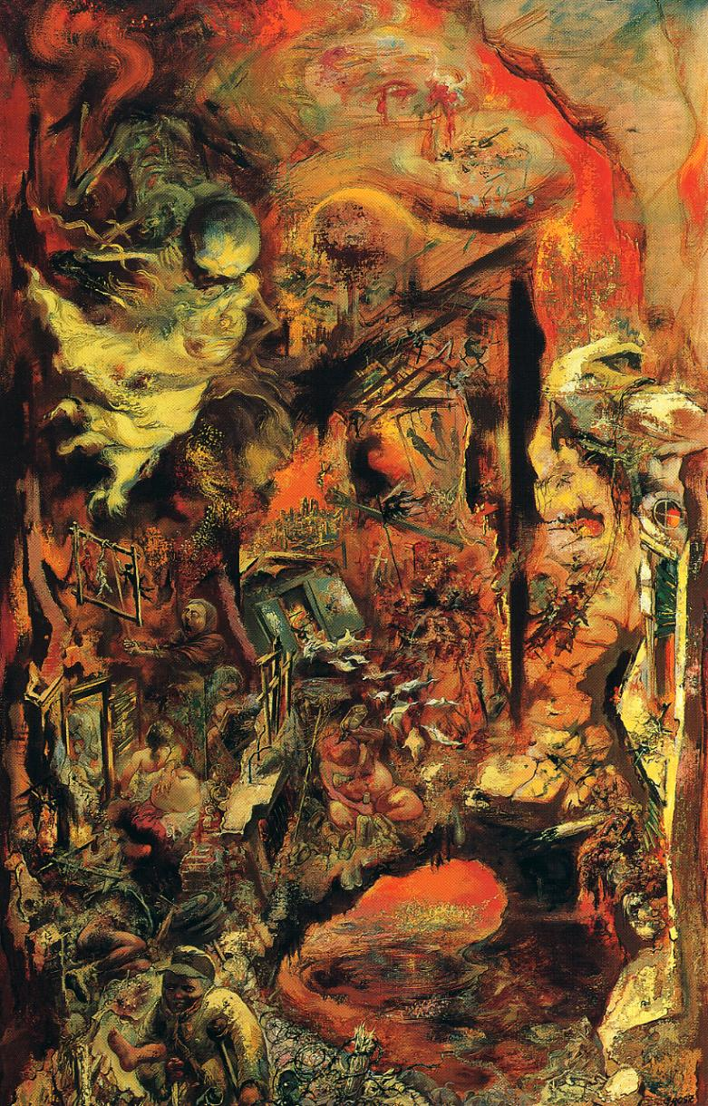 Tableaux sur toile, reproduction de Grosz, The Pit, 153x94cm