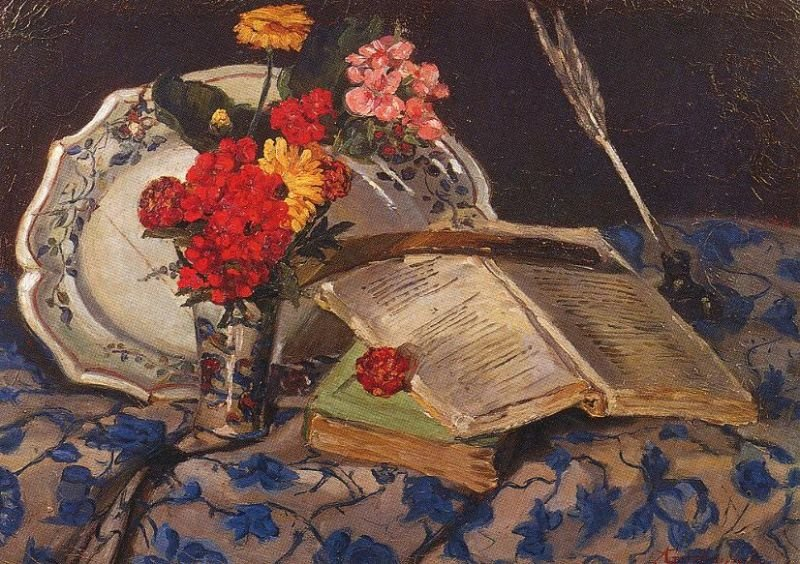 Tableaux sur toile, reproduction de Guillaumin, Still Life With Flowers And Books, 32x46cm