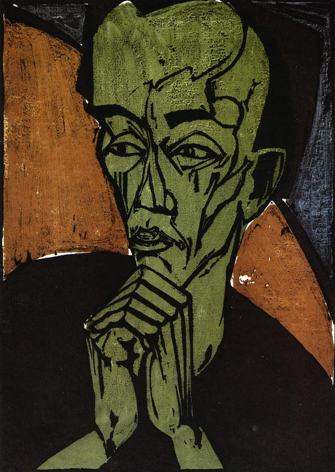 Tableaux sur toile, reproduction de Heckel, Self Portrait, 46x33cm