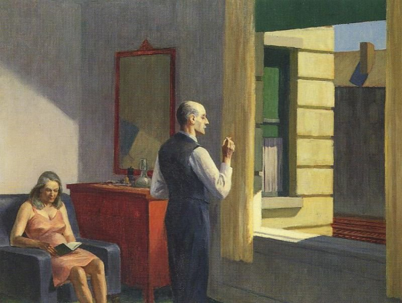Tableaux sur toile, reproduction de Hopper, Hotel By A Railroad, 79x102cm