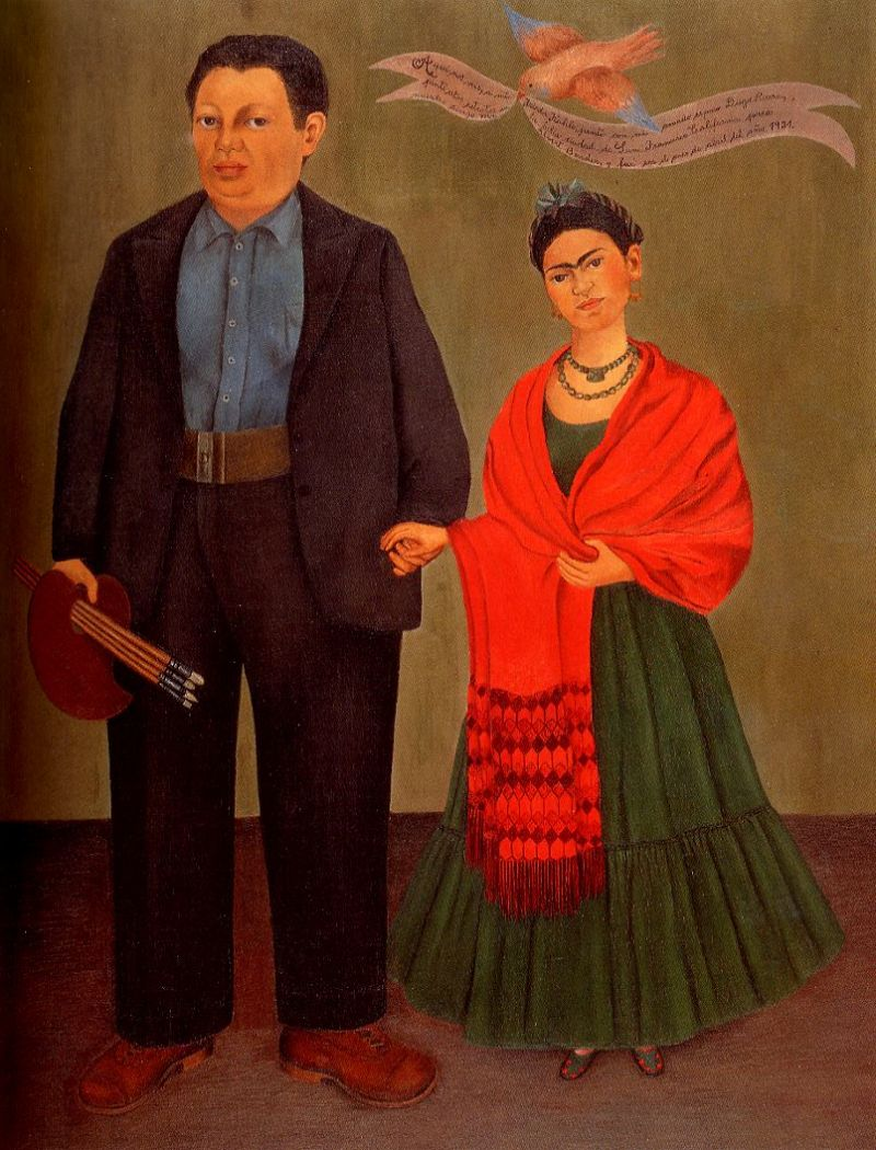 Tableaux sur toile, reproduction de Kahlo, Frieda And Diego Rivera, 100x79cm