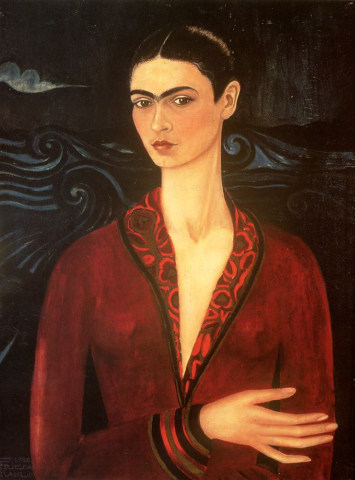 Tableaux sur toile, reproduction de Kahlo, Self Portrait With Robe, 80x60cm