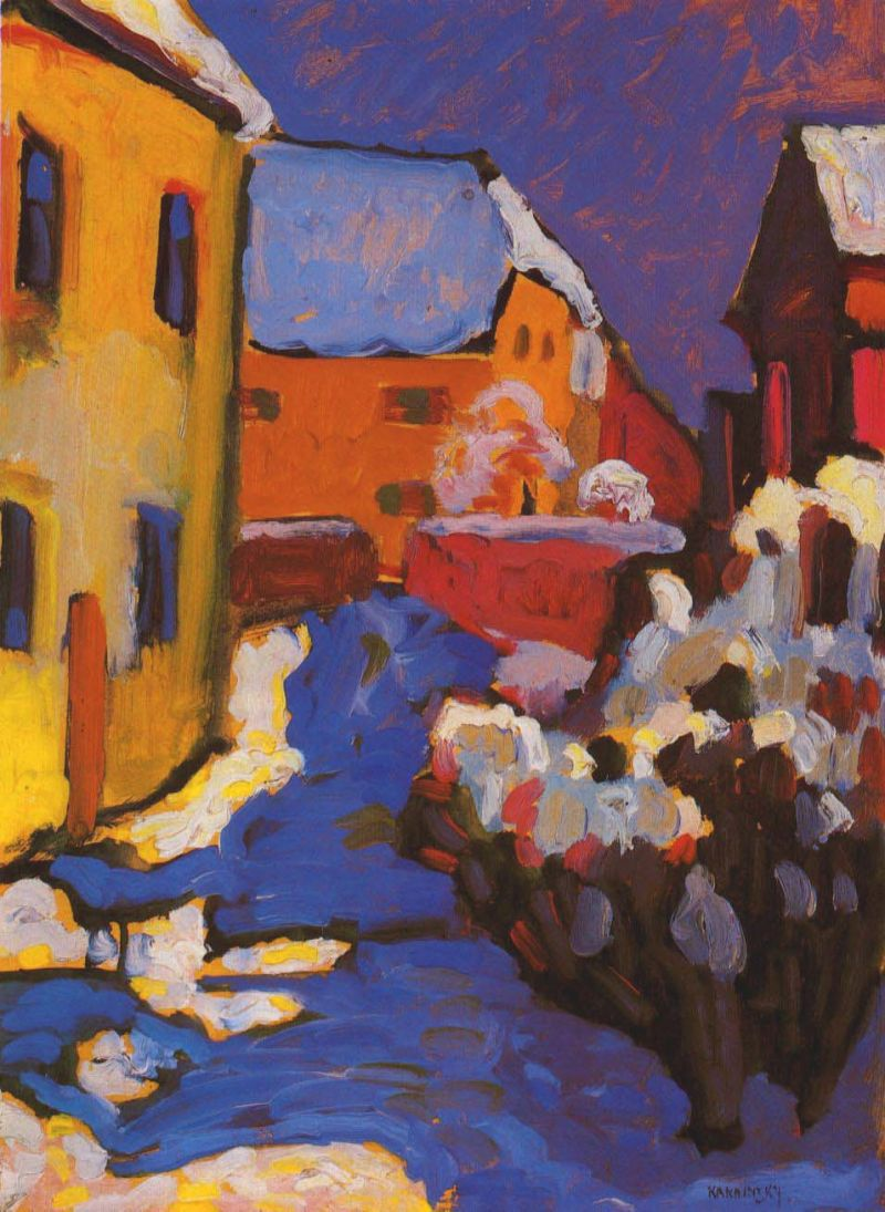 Tableaux sur toile, reproduction de Kandinsky, Church Yard And Vicarage In Kochel, 44x32cm