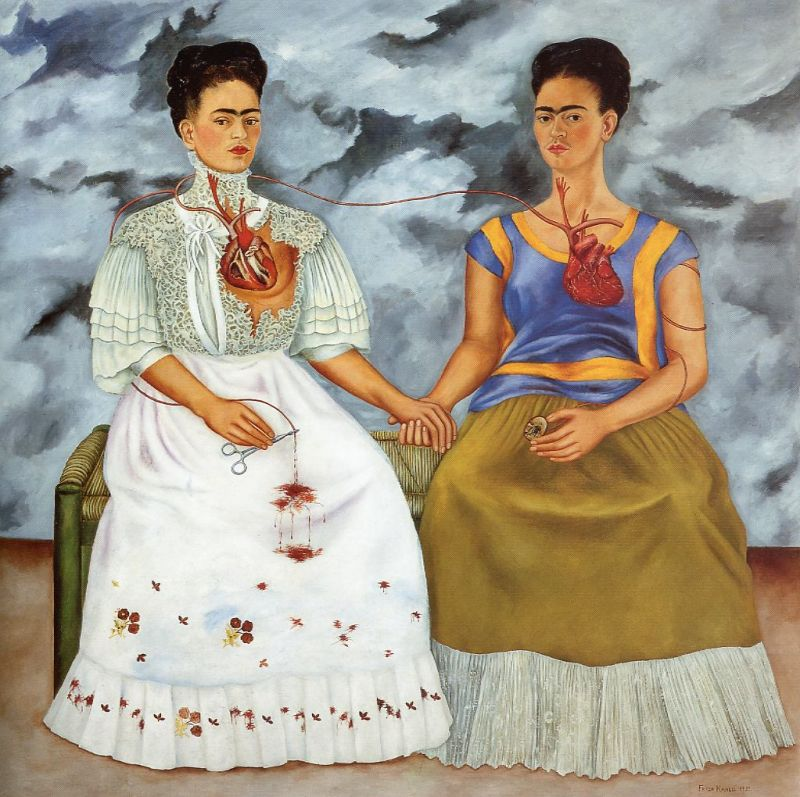 Tableaux sur toile, reproduction de Khalo, The Two Fridas, 173x173cm