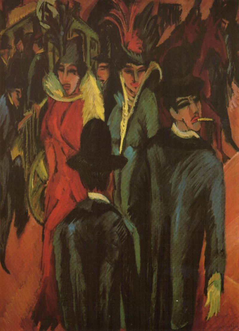 Tableaux sur toile, reproduction de Kirchner, Street Scene In Berlin, 121x95cm