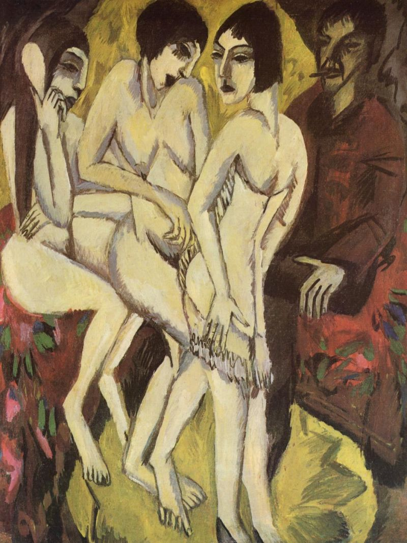 Tableaux sur toile, reproduction de Kirchner, The Judgement Of Paris, 111x88cm