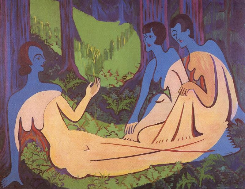 Tableaux sur toile, reproduction de Kirchner, Three Nudes In The Woods, 149x195cm