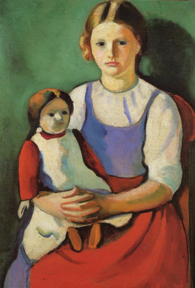 Tableaux sur toile, reproduction de Macke, Blond Girl With Doll, 76x54cm