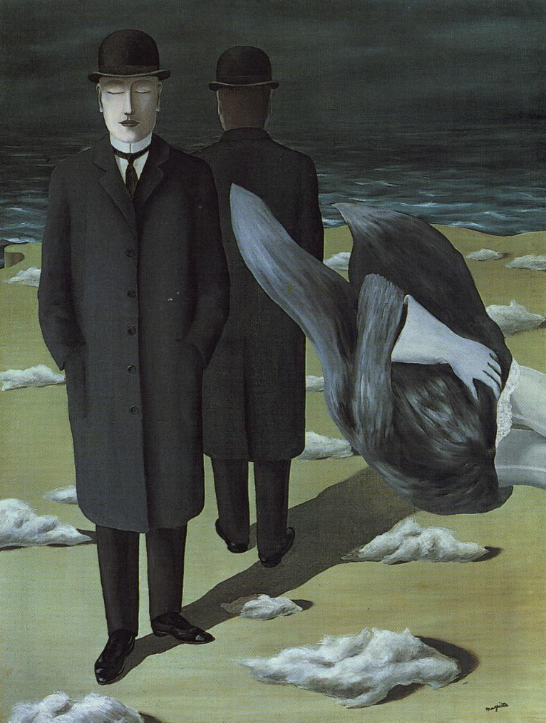 Tableaux sur toile, reproduction de Magritte, The Meaning Of Night, 138x105cm