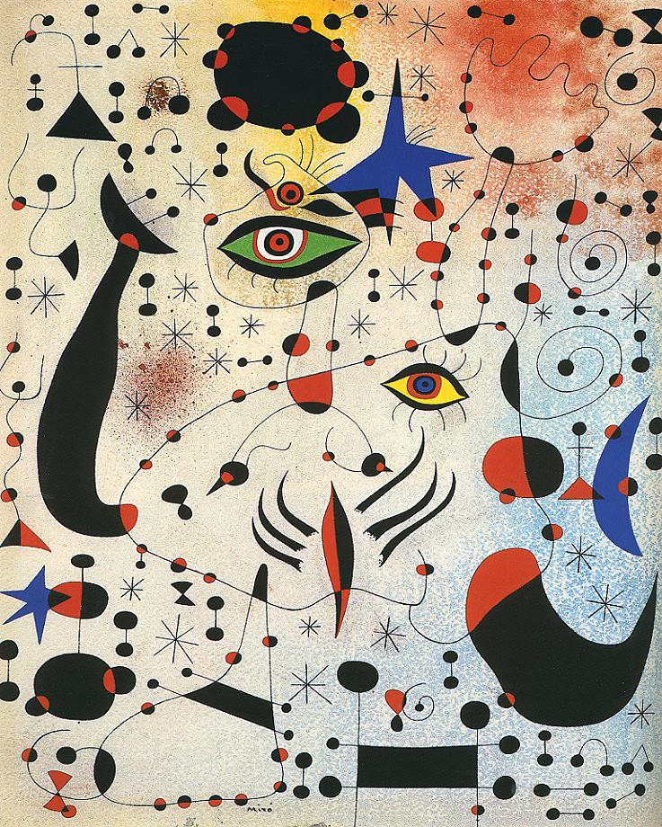Tableaux sur toile, reproduction de Miro, Ciphers And Constellations In Love With A Woman, 46x38