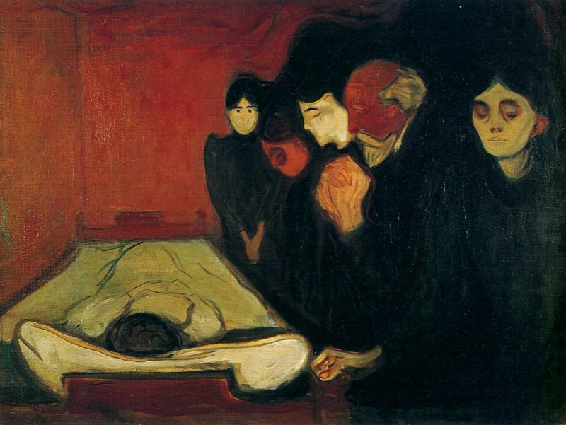 Tableaux sur toile, reproduction de Munch, The Death Bed, 90x120cm