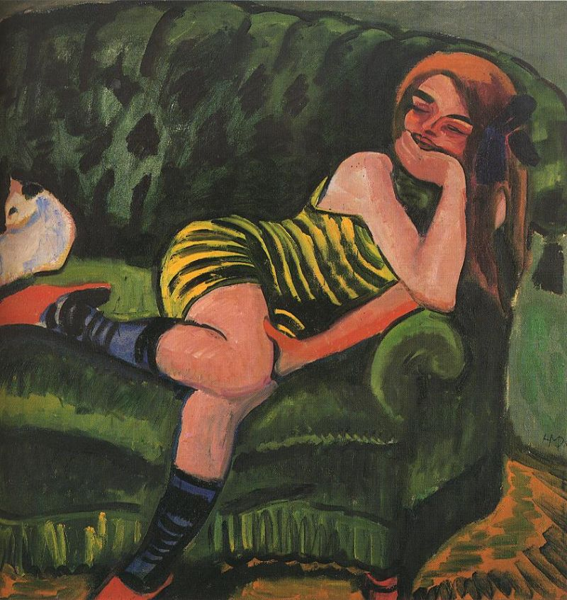 Tableaux sur toile, reproduction de Pechstein, The Green Sofa, 96x96cm