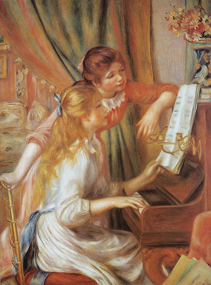 Tableaux sur toile, reproduction de Renoir, At The Piano, 116x90cm
