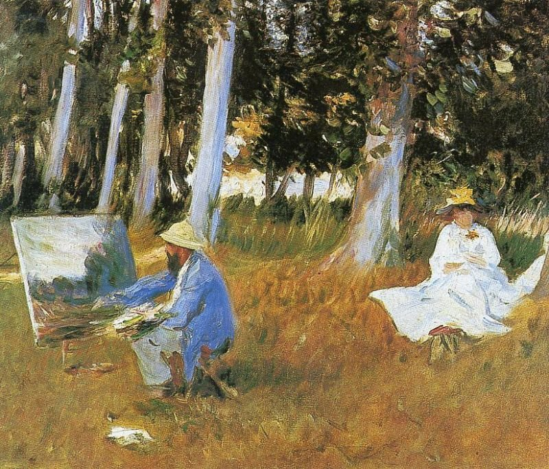 Tableaux sur toile, reproduction de Sargent, Claude Monet Painting At The Edge Of A Wood, 53x64cm