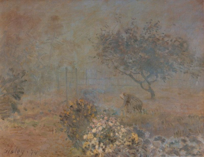 Tableaux sur toile, reproduction de Sisley, Misty Morning, 50x61cm
