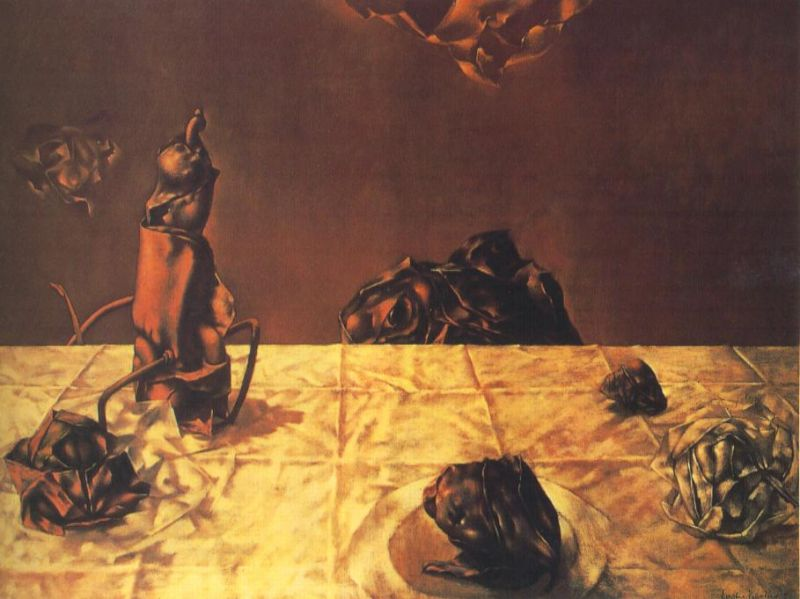 Tableaux sur toile, reproduction de Tanning, Some Roses And Their Phantoms, 75x101cm