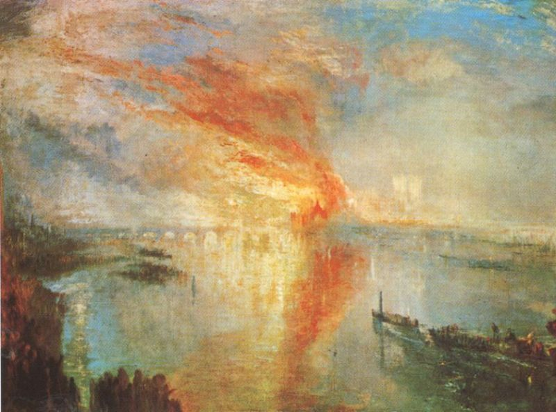 Tableaux sur toile, reproduction de Turner, The Burning Of The Houses Of Parliament, 92x123cm