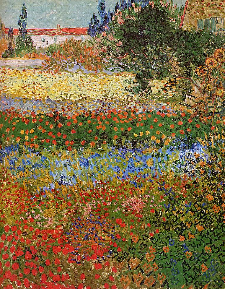 Tableaux sur toile, reproduction de Van Gogh, Flowering Garden, 92x73cm