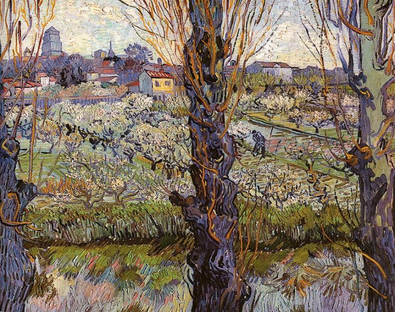 Tableaux sur toile, reproduction de Van Gogh, Orchard In Blossom With View Of Arles, 72x92cm