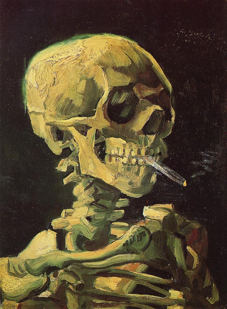 Tableaux sur toile, reproduction de Van Gogh, Skull With Burning Cigarette, 32x24cm