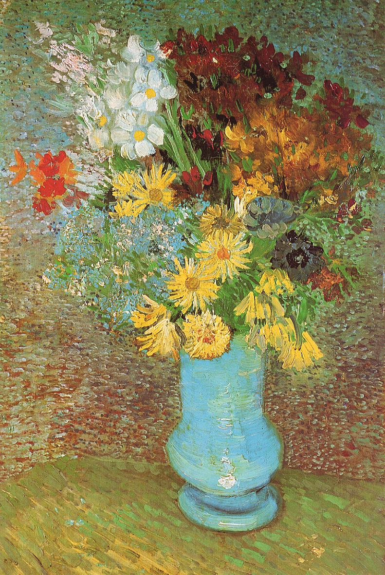 Tableaux sur toile, reproduction de Van Gogh, Vase With Daisies And Anemones, 61x38cm