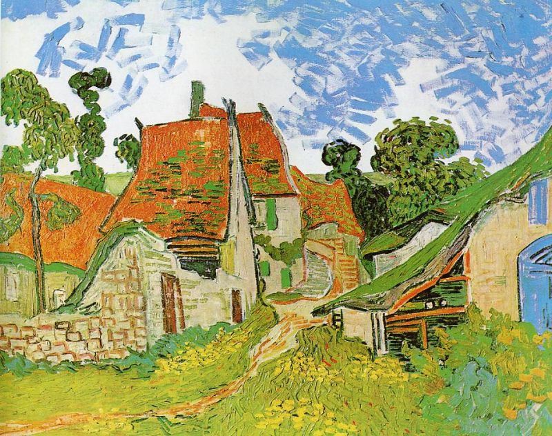 Tableaux sur toile, reproduction de Van Gogh, Village Street In Auvers, 73x92cm