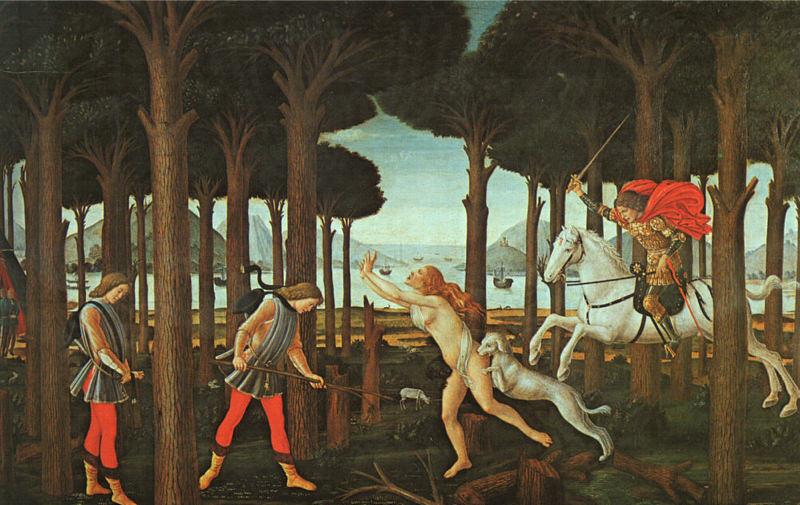 Botticelli, L'Histoire de Nastagio degli Onesti (premier épisode)