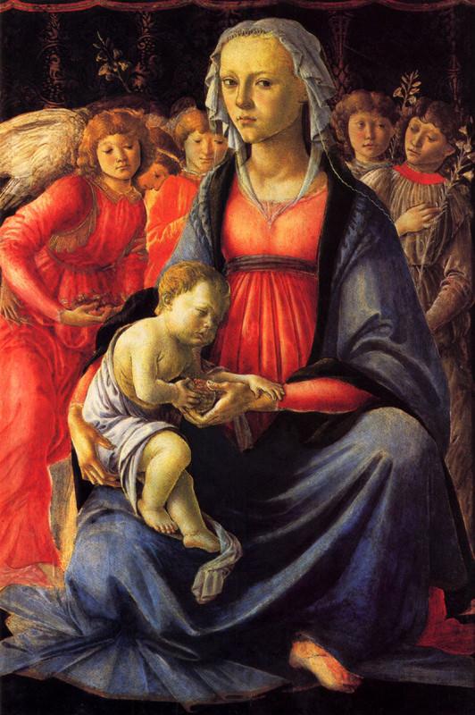 Botticelli, La vierge à l'enfant et cinq anges