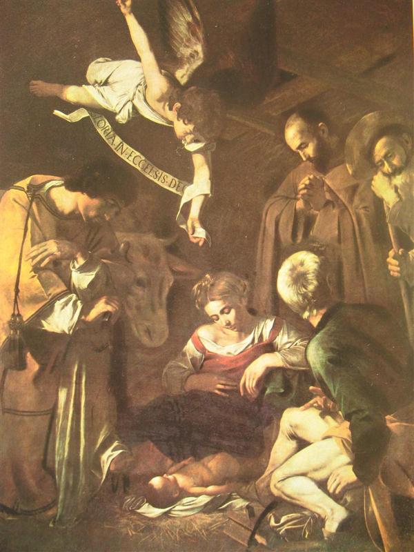Caravage, La Nativité avec saint François et saint Laurent