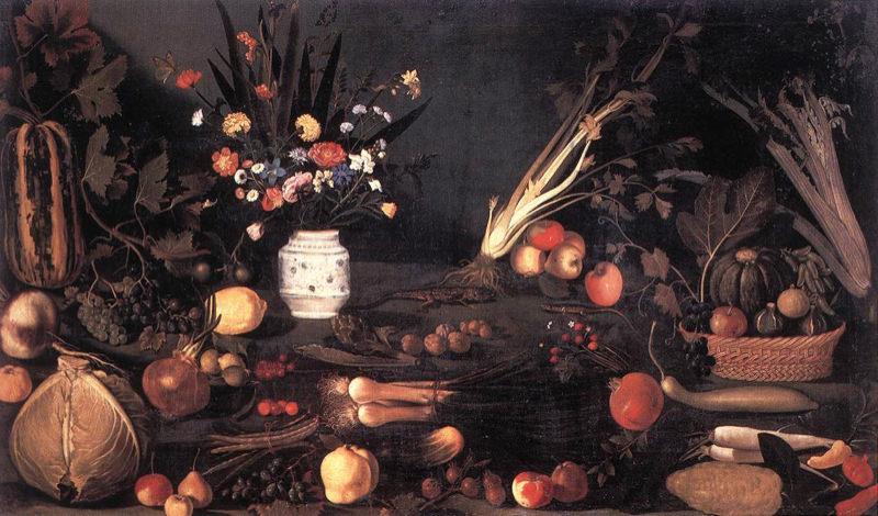 Caravage, Nature morte aux fleurs et fruits