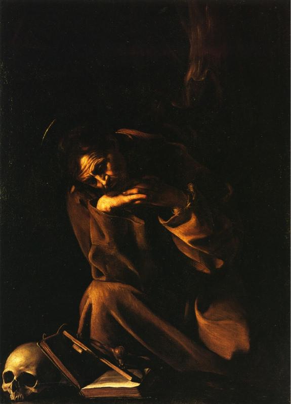 Caravage, Saint François en méditation sur le crucifix