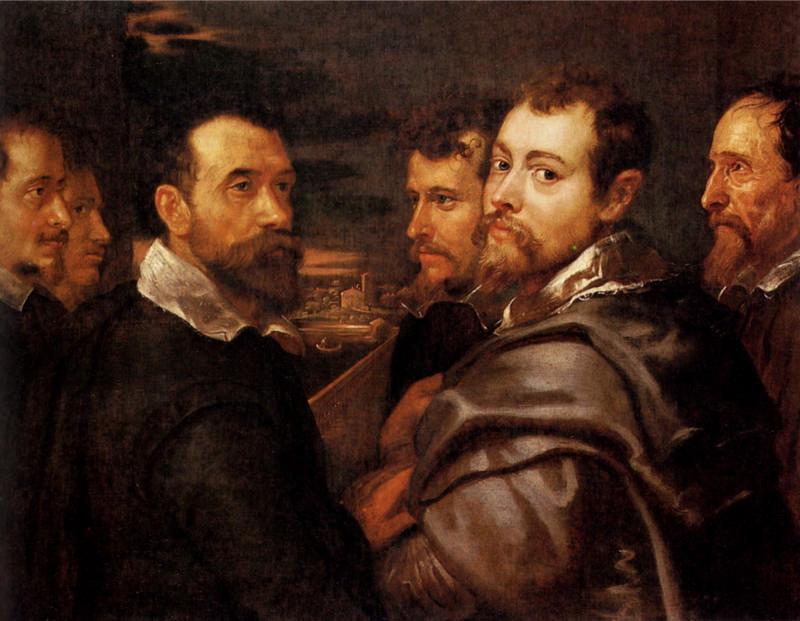 Rubens, Autoportrait dans un cercle d'amis de Mantoue