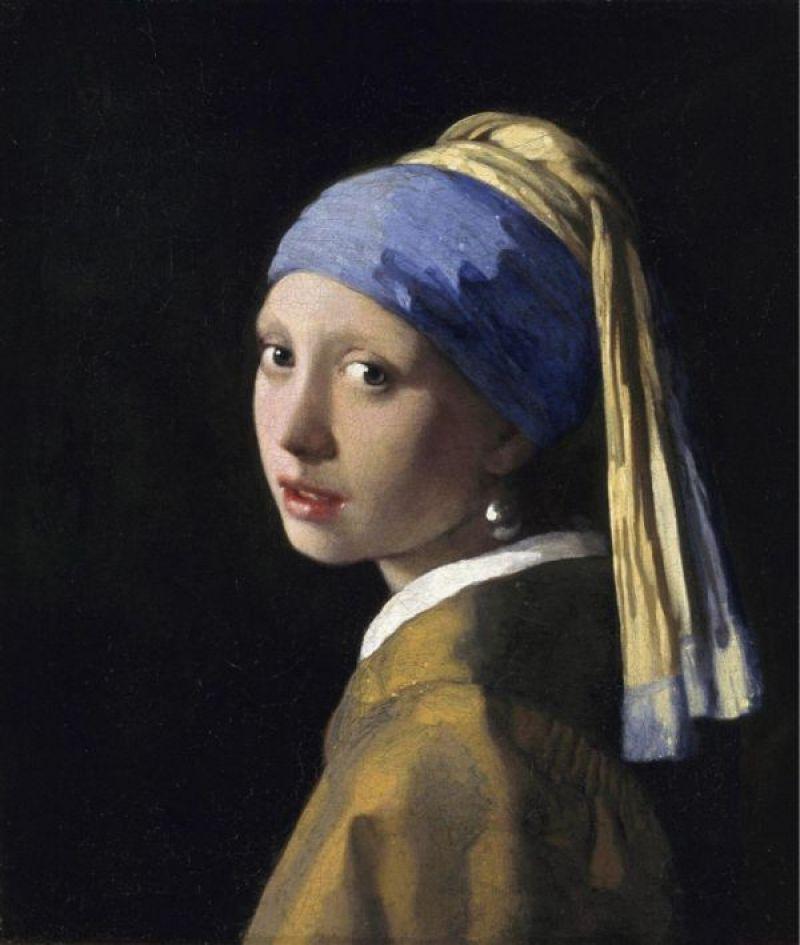 Reproduction de Vermeer, La jeune fille à la perle. Tableau peint à la main dans nos ateliers. Peinture à l'huile sur toile.